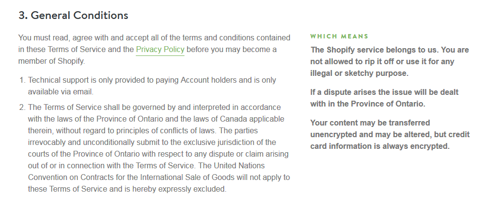 Shopify - Terms & Conditions