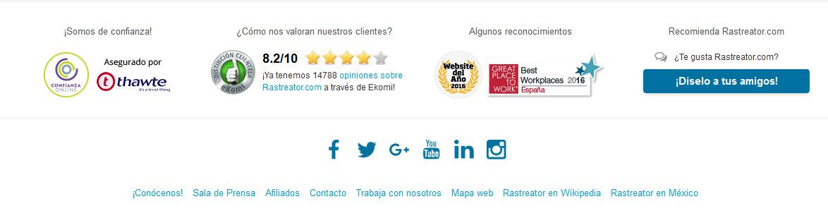 Confianza en Rastreator.com